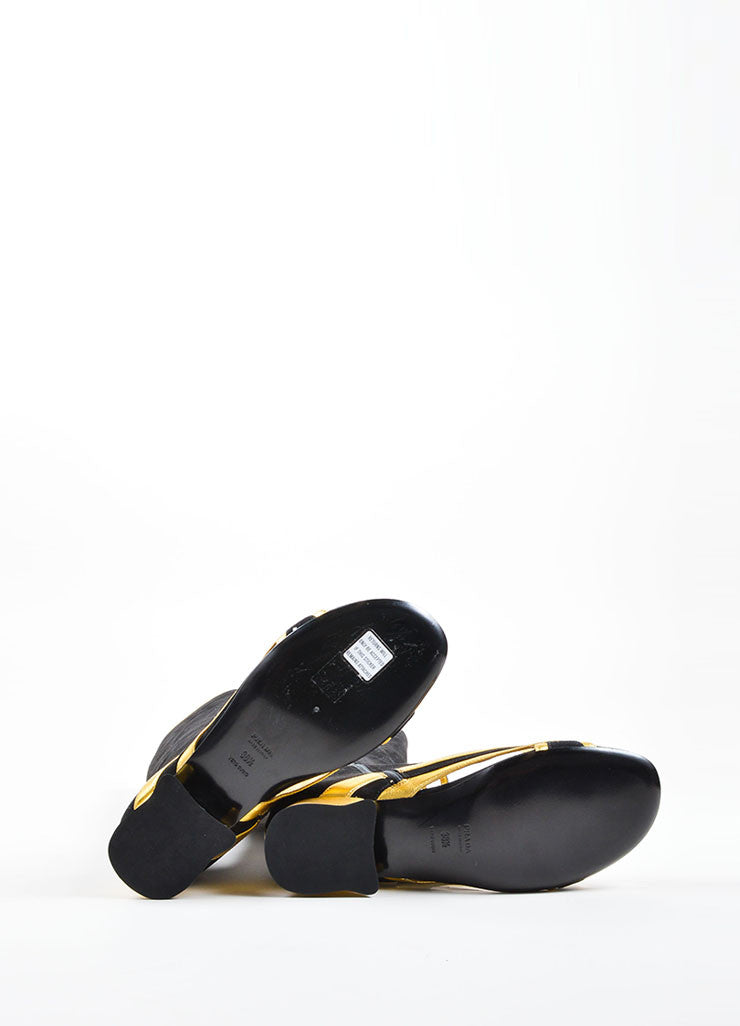Prada Black and Gold Suede Cut Out Open Toe Boots Outsoles