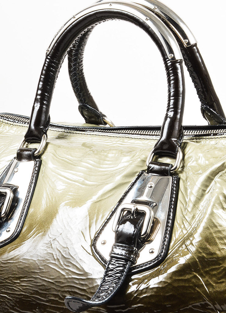 "Prada Olive Green and Black Patent Leather Ombre ""Sfumato"" Satchel Bag Detail 2"