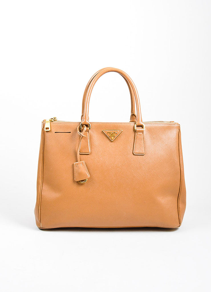"Prada Tan Leather ""Saffiano Lux Gardener's"" Dual Compartment Tote Bag Frontview"