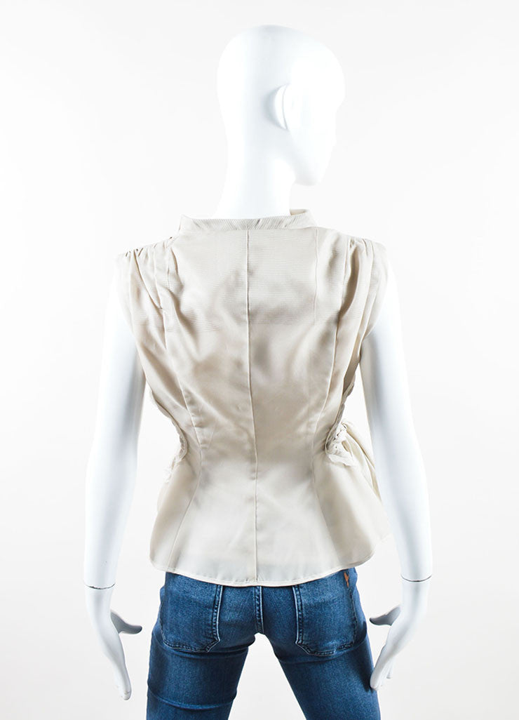 "Rick Owens Beige ""Pearl"" Silk and Cotton Wrap Tie Paneled Vest Backview"