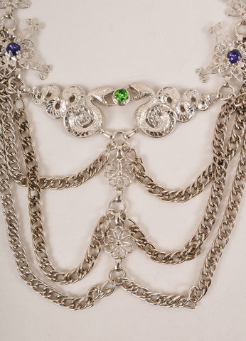 Rodarte New Silver Toned and Multicolor Gem Rhinestone Snake Draped Chain Belt Detail