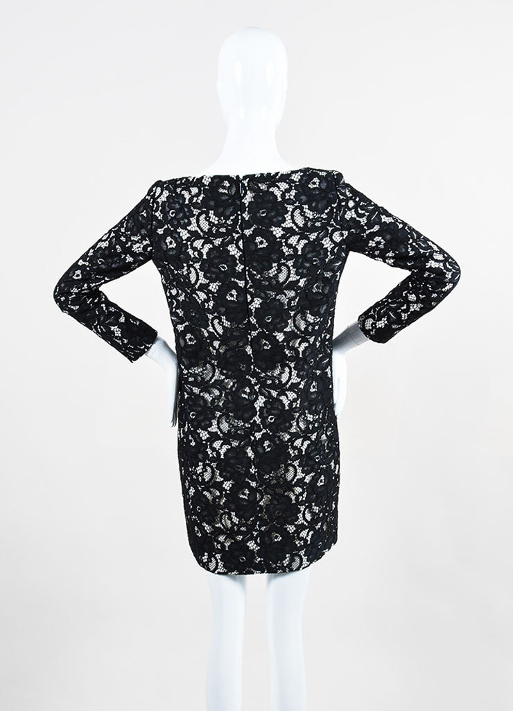 Saint Laurent Black and White Lace Three Quarter Sleeve Shift Dress Backview