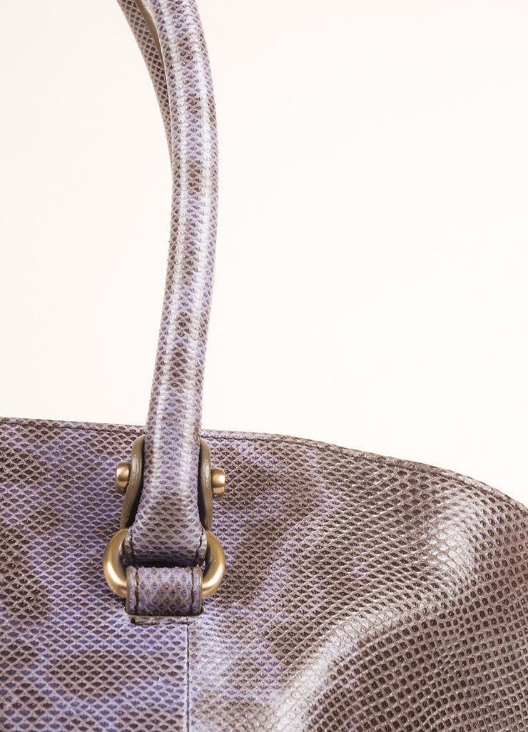 Salvatore Ferragamo Purple and Brown Lizard Leather Top Handle Shoulder Bag Detail 2