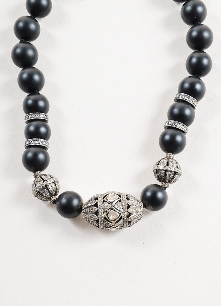 Black Onyx and Pave Diamond Beaded Necklace Detail