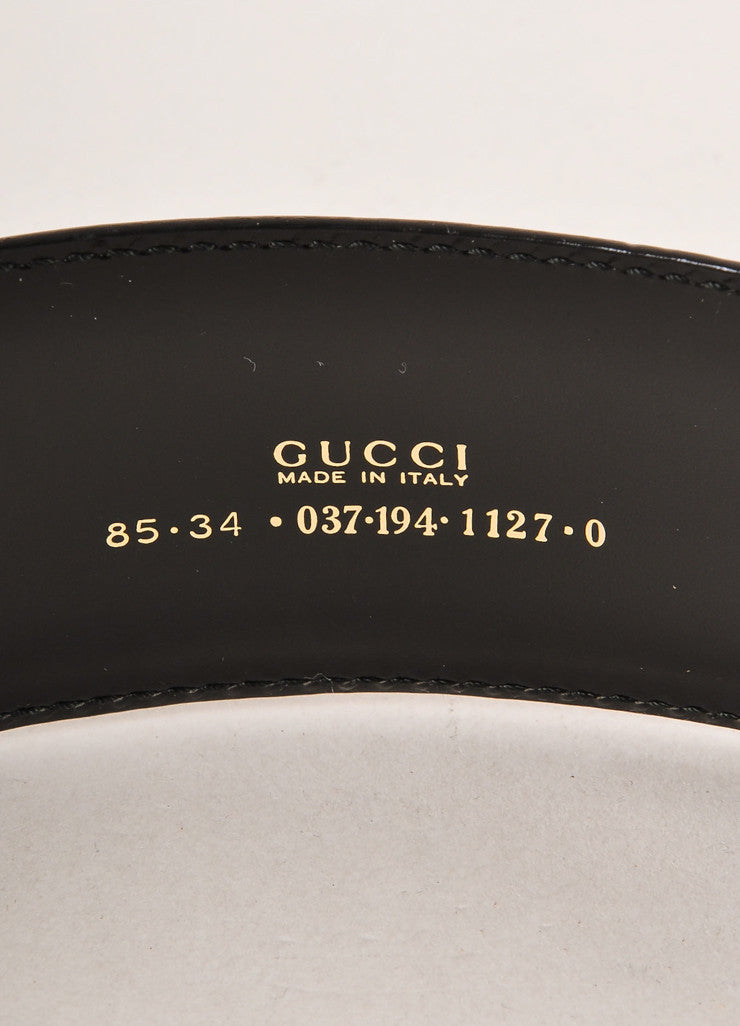 Gucci Black and Gold Toned Oversized Abstract Buckle Leather Belt Brand