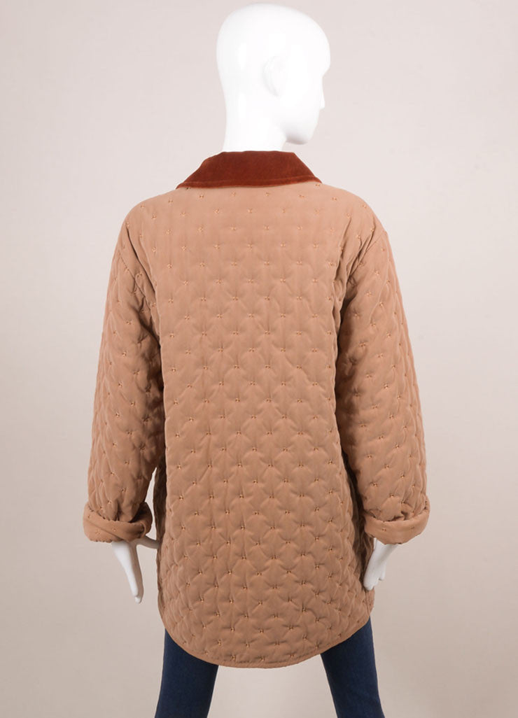 Hermes Taupe and Rust Cotton and Wool Quilted Button Up Jacket Backview