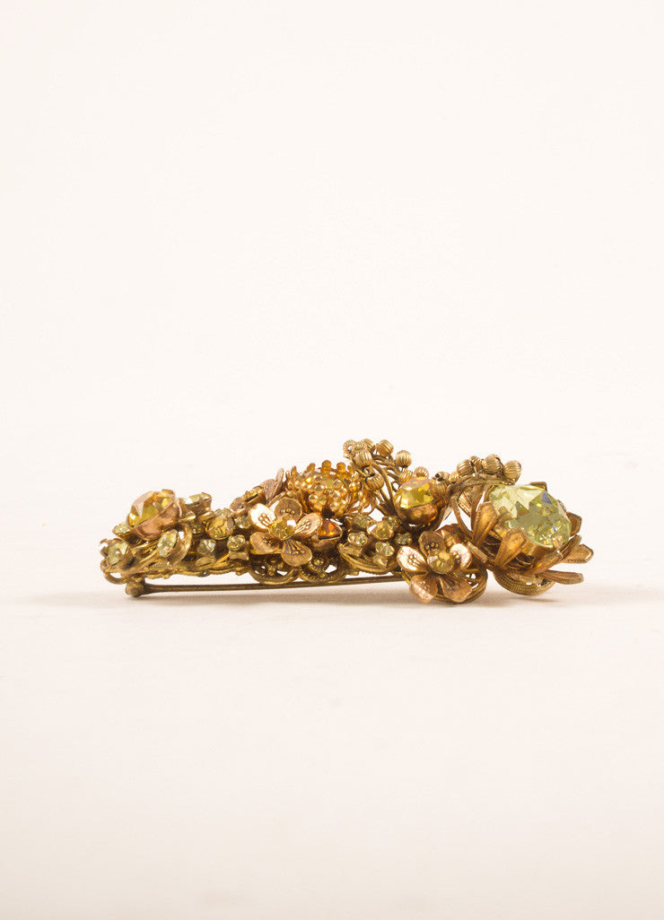 Miriam HaskellGold Toned, Green, and Yellow Rhinestone and Floral Filigree Pin Sideview