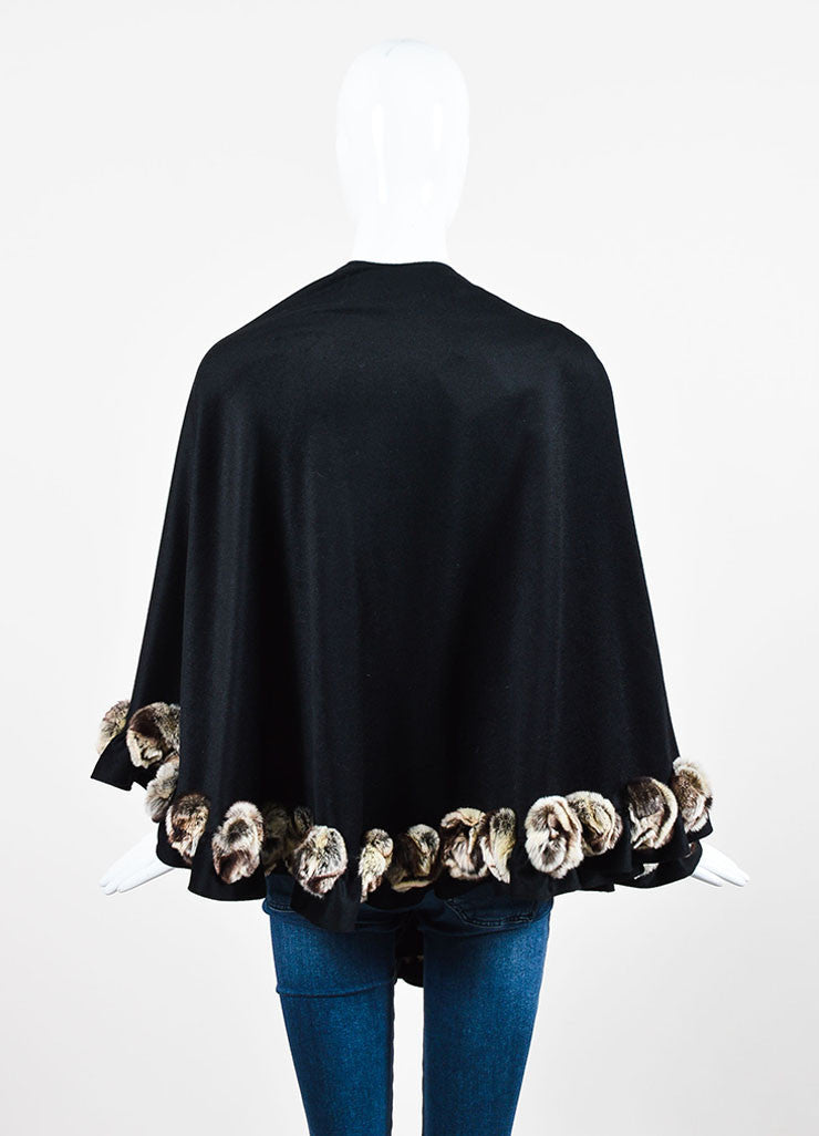 Black and Cream Oscar de la Renta Studio Fur Rosette Trim Cashmere Shawl Backview