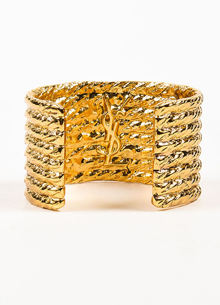 Yves Saint Laurent Gold Toned Rope Textured Wide Cuff Bracelet Backview