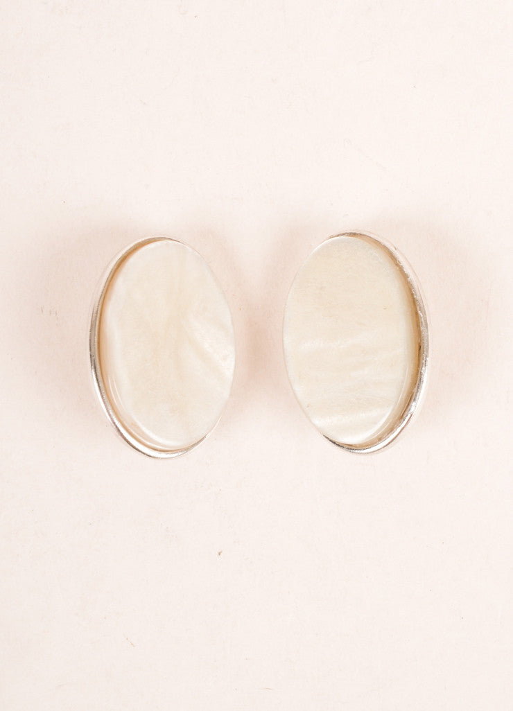 Yves Saint Laurent Silver Toned and Cream Flat Stone Face Oval Earrings Frontview