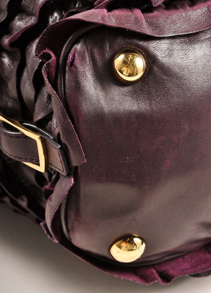 "Valentino Dark Purple Ruffle Leather ""Allure"" Frame Satchel Tote Bag Detail"