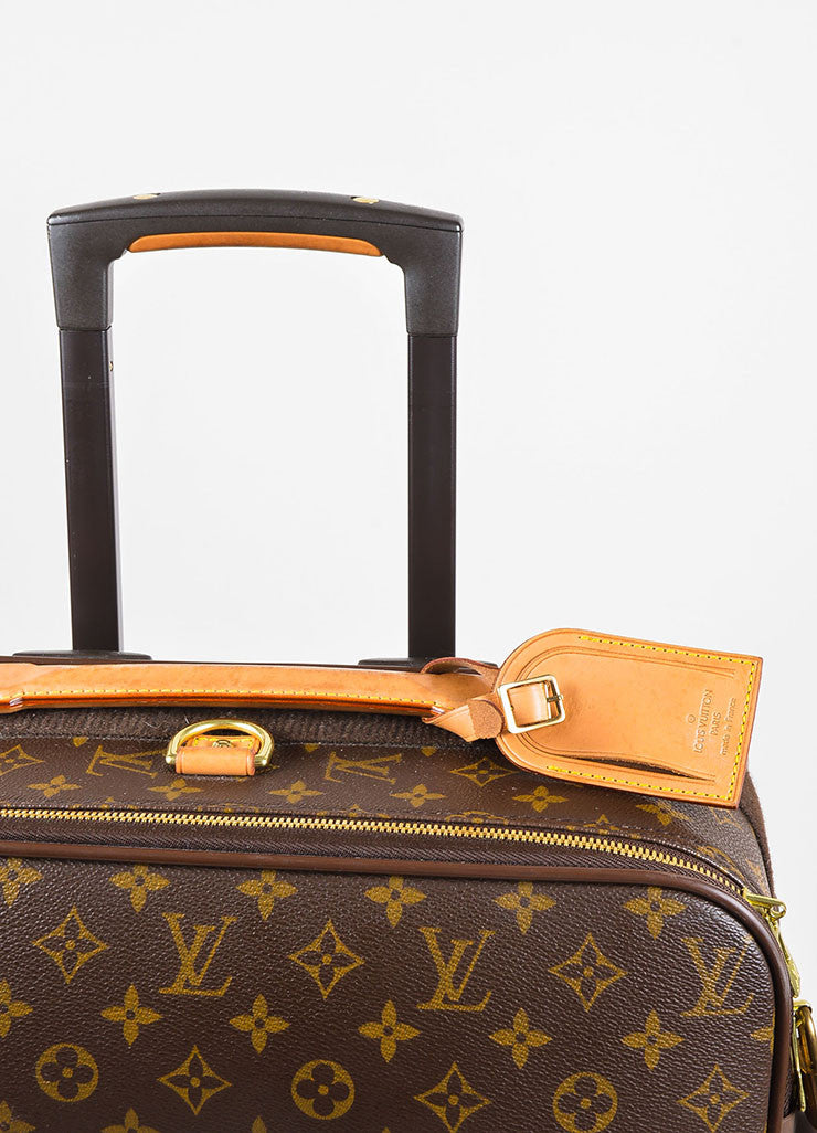 "Louis Vuitton Brown and Tan Coated Canvas Leather Trim ""Pegase 60"" Rolling Luggage"