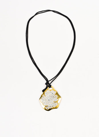 Pauline Trigere Black and Gold Toned Rhinestone Pendant Cord Necklace