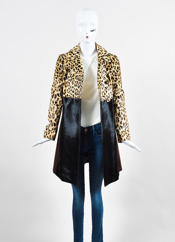 Tan and Brown Valentino Pony Hair Leopard Print Coat  Frontview