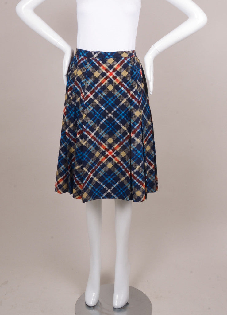 Red, Blue, and Cream Pleated Plaid Wool Skirt