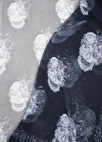 Black and Grey Alexander McQueen Birds and Skull Print Sheer Silk Scarf Detail
