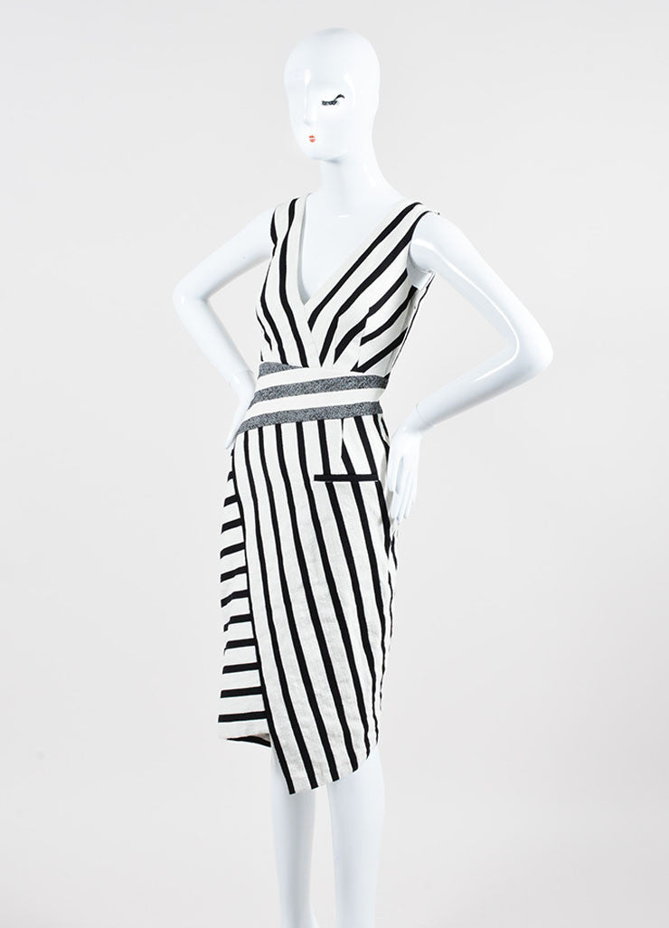 Cream and Black Altuzarra Textured Contrast Stripe Sleeveless Dress Sideview