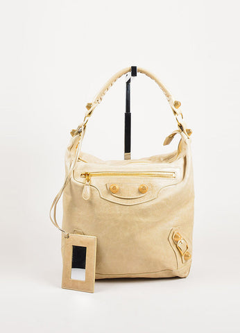 "Balenciaga Beige Leather ""Giant 21 Day"" Hobo Bag frontview"