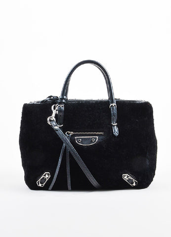 "Balenciaga Black Leather Faux Fur ""Shearling Mini Papier"" Tote Bag Frontview"