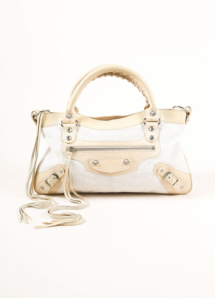"Balenciaga Cream Pony Hair Rhinestone Studded ""Motocross First"" Bag Frontview"