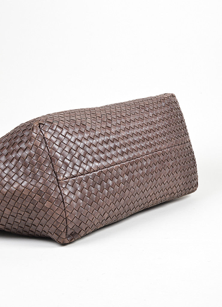 "Brown Leather Bottega Veneta ""Intrecciato Cabat"" Woven Medium Tote Bag Bottom View"