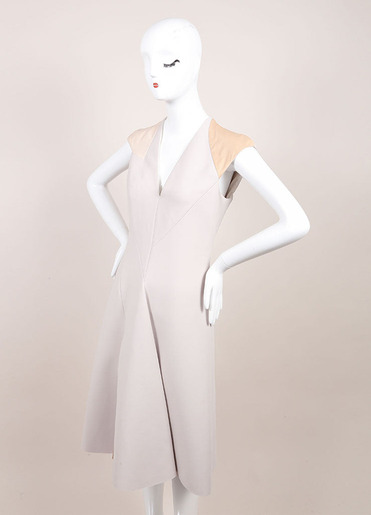 Bottega Veneta New With Tags Grey and Tan Leather Trim Sleeveless A-Line Dress Sideview