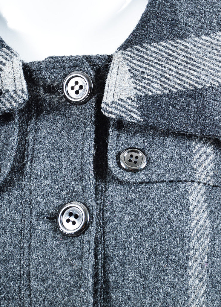 Heather Grey Burberry Wool Plaid Check Button Down Swing Coat Detail