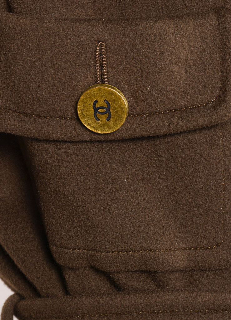 "Chanel Army Green Fleece Gold Toned ""CC"" Button Belted Jacket Detail"