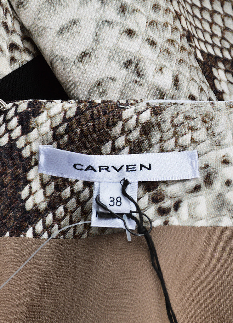 Carven Black, Grey, and White Python Print Long Sleeve Dress Brand