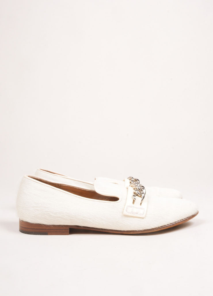 Celine Cream Pony Hair Chain Loafers Sideview