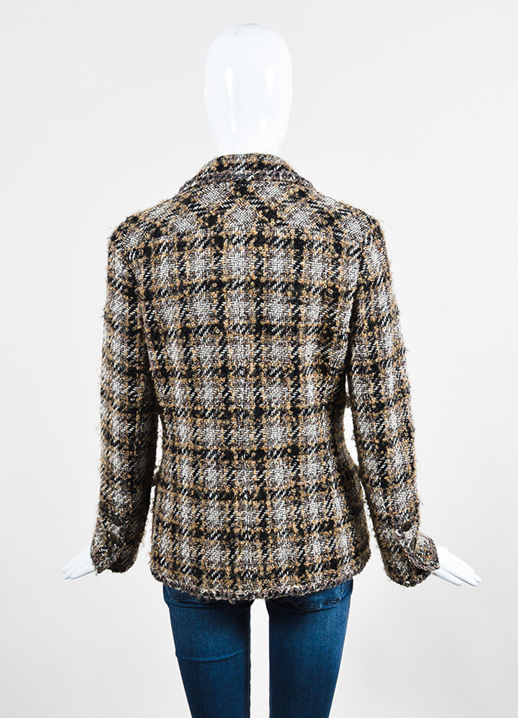 Black, Brown, and White Chanel Tweed 'CC' Button Jacket Backview