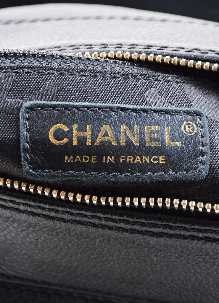 "Chanel Black ""CC"" Stitched Leather Chain Shoulder Bag Brand"