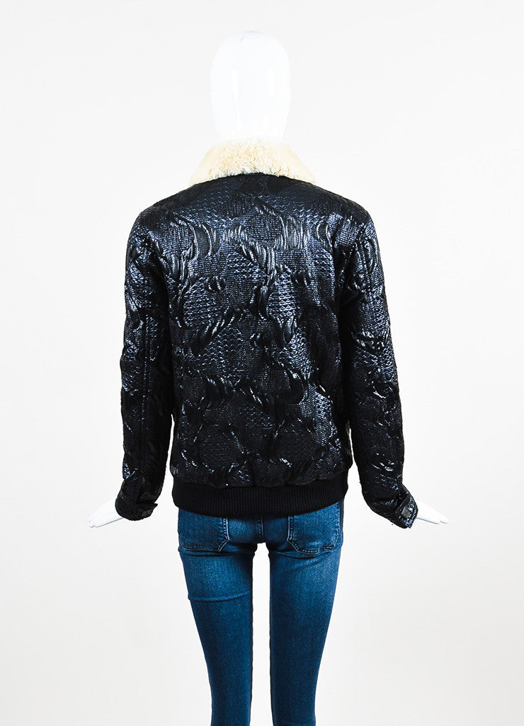 Chanel Blue, Black, and Cream Orlyag Fur Collar Textured Bomber Jacket Backview