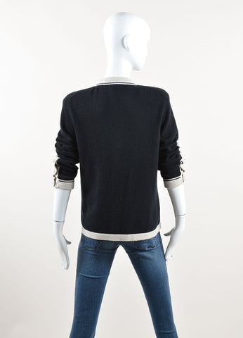 "Chanel Black and Beige Cashmere ""CC"" Button Cardigan Sweater Backview"
