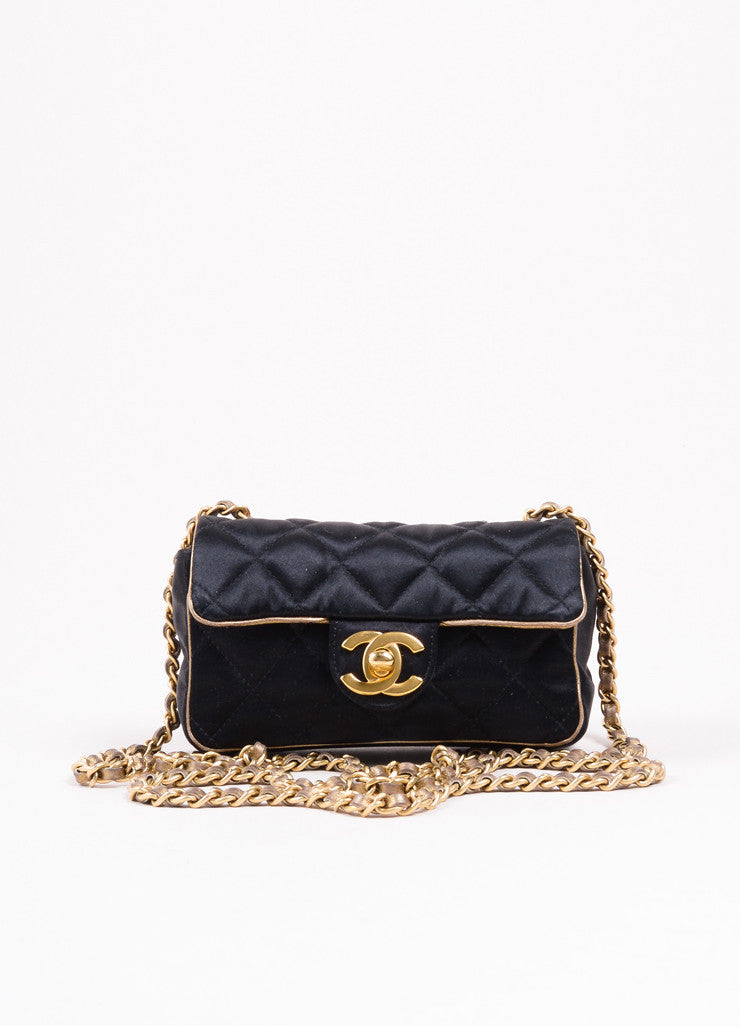 "Chanel Black and Gold Toned Satin Quilted Chain Strap ""CC"" Flap Cross Body Bag Frontview"