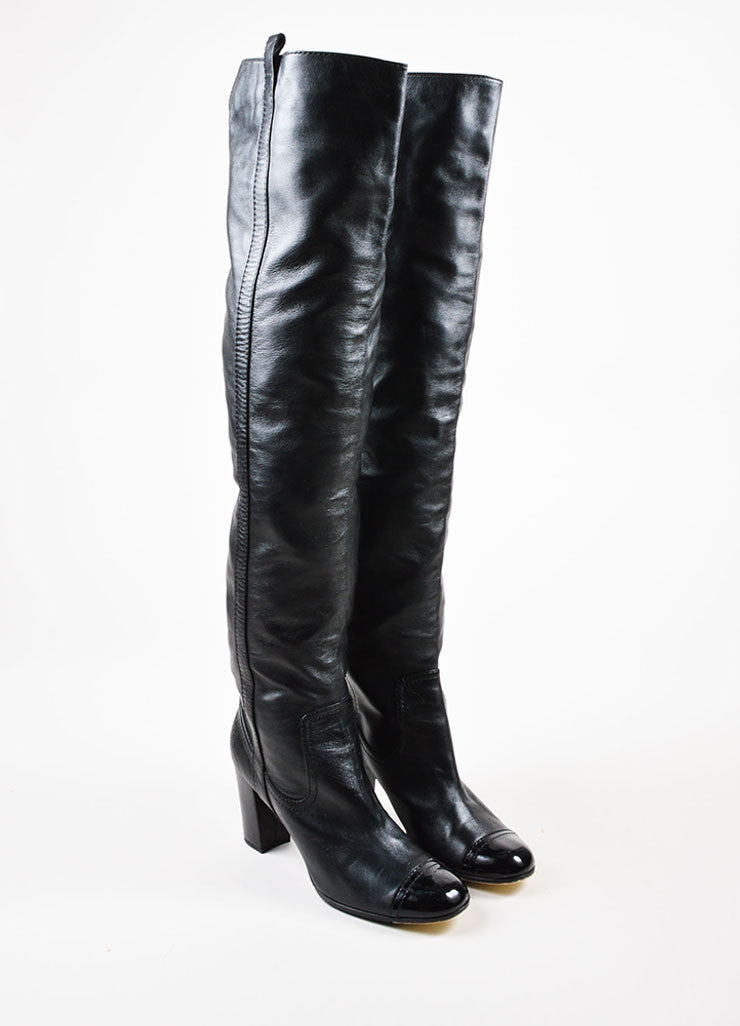 Chanel Black Leather Patent Cap Toe Heeled Over The Knee Boots Frontview