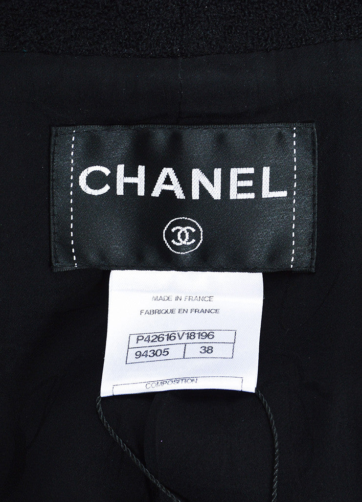 Chanel Black Wool Blend Boucle Rhinestone 'CC' Buttons Jacket Brand