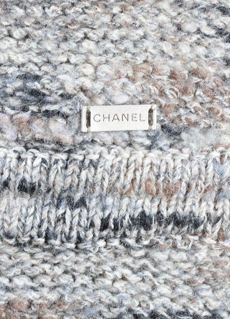 Chanel Grey and Purple Stretch Wool Fringe Pencil Skirt Detail