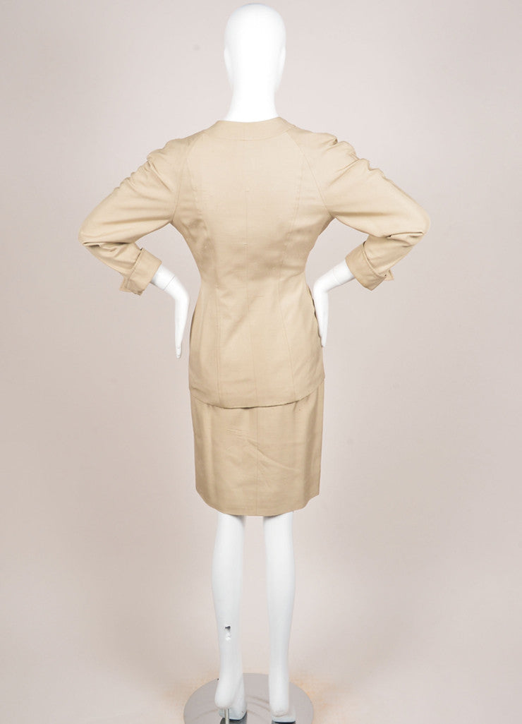 Chanel Khaki Gold Toned Coin Button Skirt Suit Backview