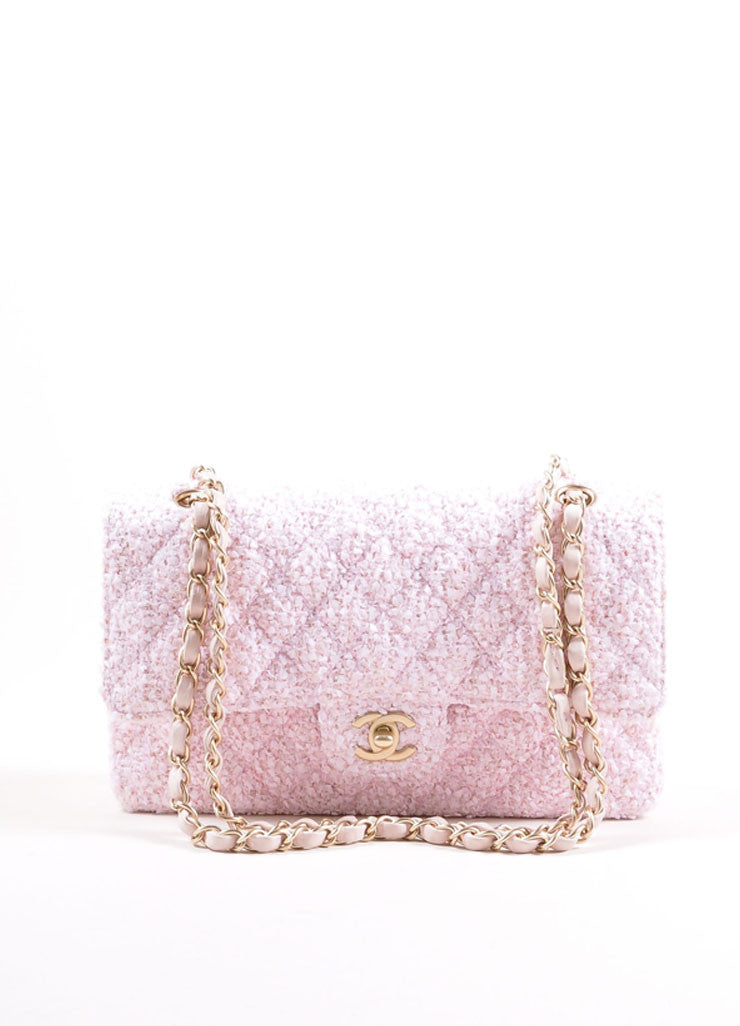 "Chanel Light Pink and Gold Toned Quilted Tweed Chain Strap ""CC"" Double Flap Bag Frontview"