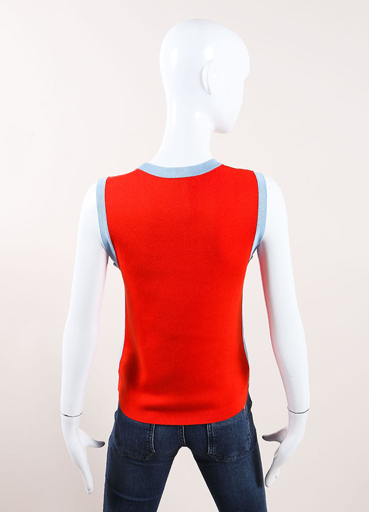 Chanel Red Sleeveless Top Back View