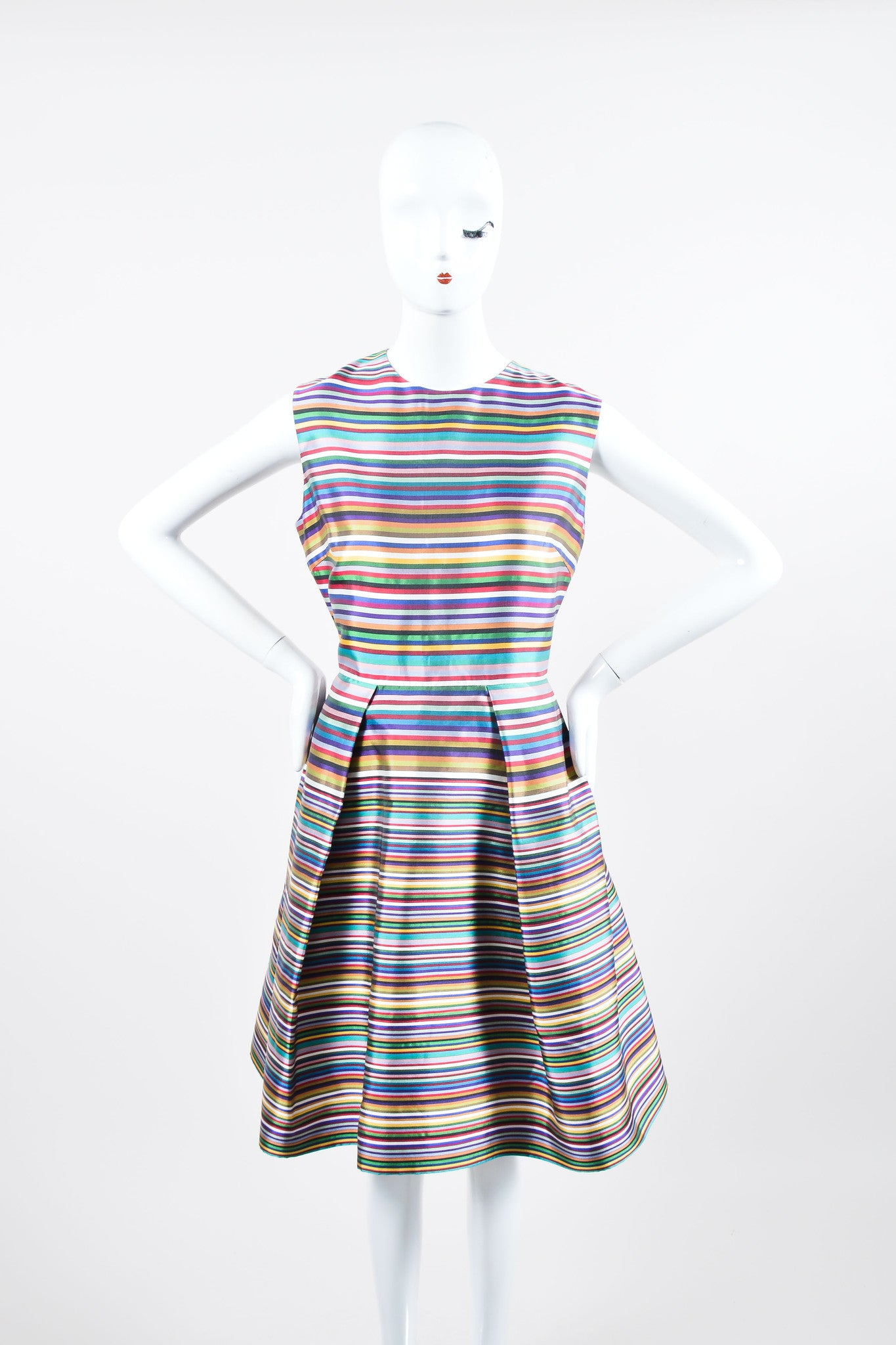 Multicolor Christian Dior Silk Stripe Pleated Sleeveless Dress Frontview