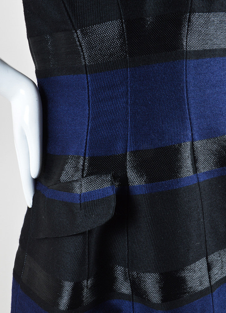 Christian Dior Navy Blue and Black Wool Striped Strapless Dress Detail