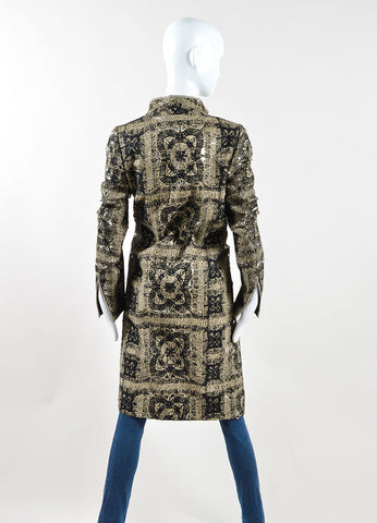 Christian Lacroix Beige, Black, and Silver Mohair Long Jacket Backview
