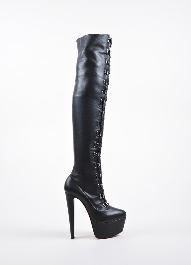"Black Christian Louboutin Leather ""Maxicroche"" Thigh-High Boots Sideview"