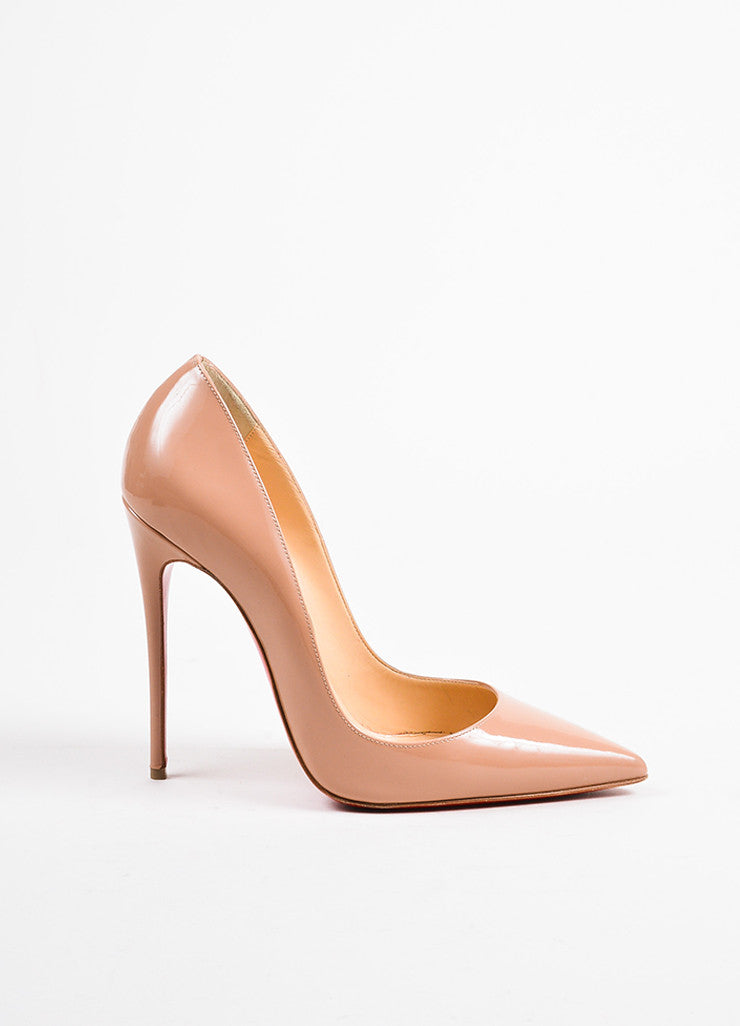 "Christian Louboutin Nude Patent Leather ""So Kate 120"" Pointed Toe Pumps Sideview"
