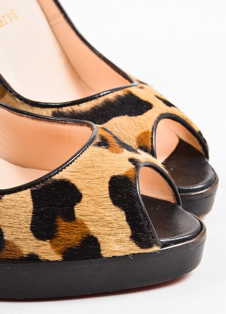 "Christian Louboutin Tan Pony Hair Leopard Peep Toe ""Yoyo Zeppa"" Pumps  Detail"