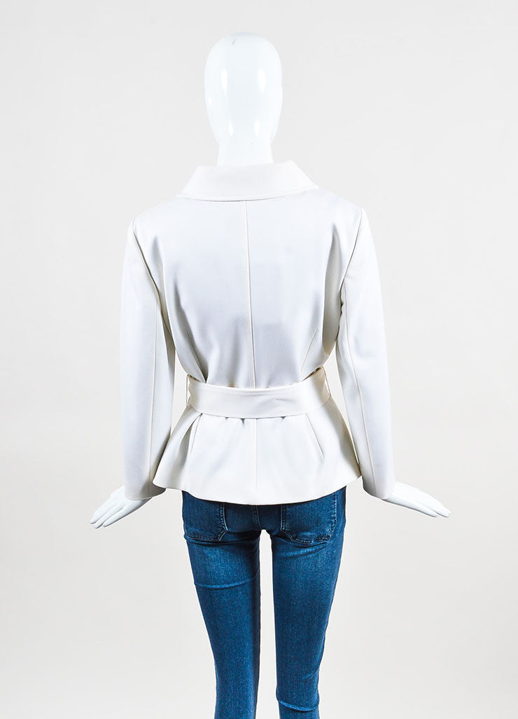 Dolce & Gabbana White Virgin Wool 'DG' Buttoned & Belted Jacket Backview