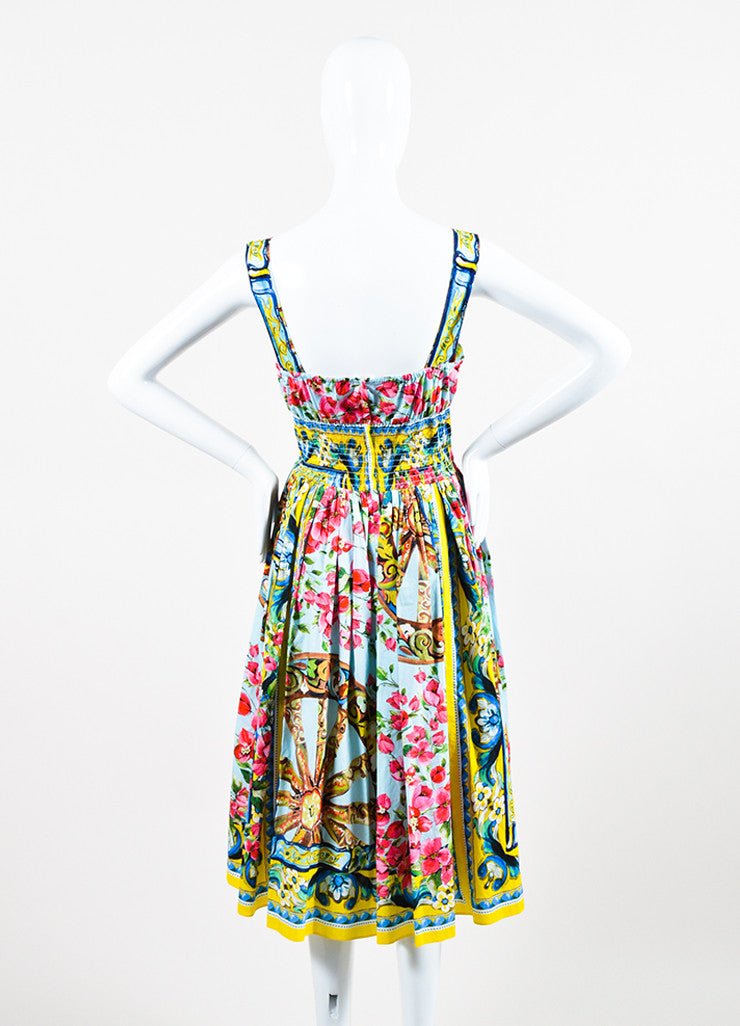 Dolce & Gabbana Multicolor Floral Sleeveless Dress Back