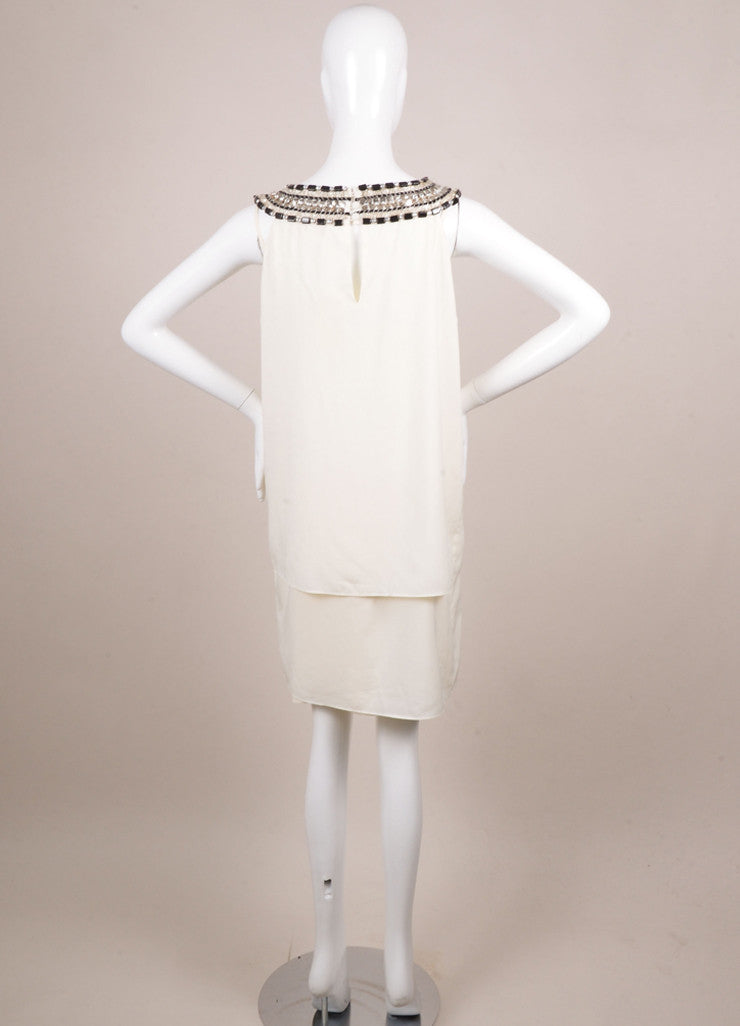 Erin by Erin Fetherson New With Tags Cream Silk Embellished Sleeveless Shift Dress Backview